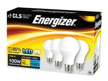 LED ES (E27) Opal GLS Non-Dimmable Bulb, Warm White 1521 lm 12.5W (Pack 4)
